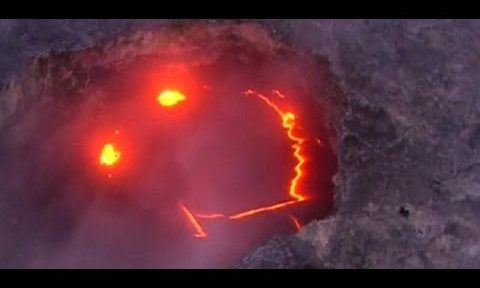 Helicopter captures most adorable volcanic eruption