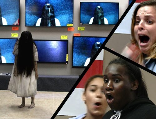 "The Girl from ""The Ring"" Climbs Out of a TV at an Electronics Store"