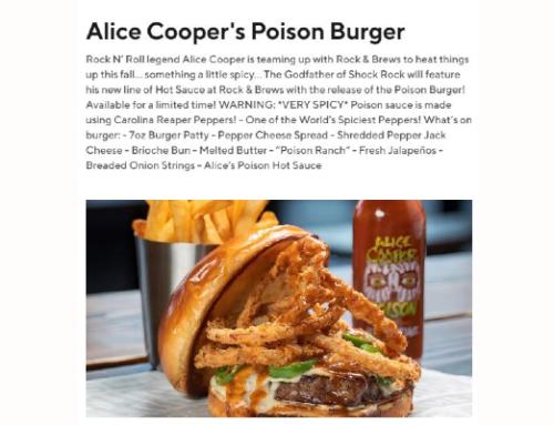 Overland Park's ROCK & BREWS Are Serving Up Alice Cooper's 'Poison Burger'